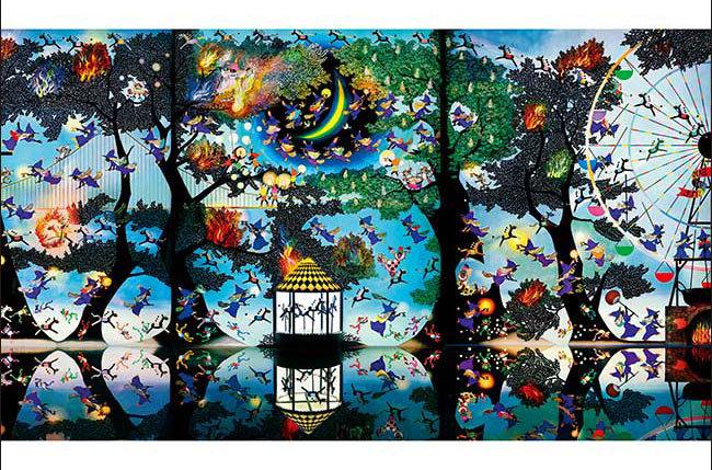 藤城清治 - 在魔法森林燃燒的再生火焰 1000塊 (50×75cm)