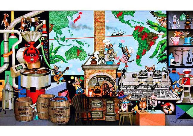 藤城清治 - 咖啡生命之源 500塊 (38×53cm)