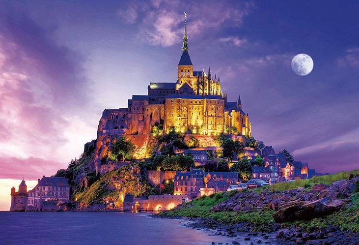 (迷你尺寸) 法國風景 - 聖米歇爾山夜景 2000塊 (49×72cm)