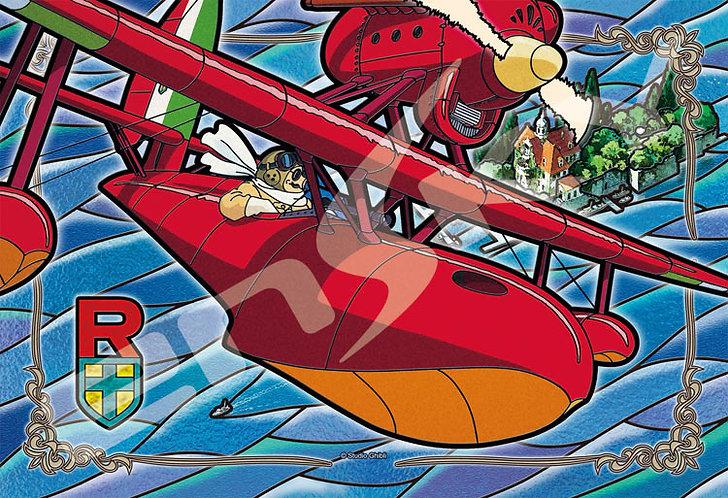 (透明樹脂) 飛天紅豬俠 - 在亞得里亞海上空 300塊 (26×38cm)