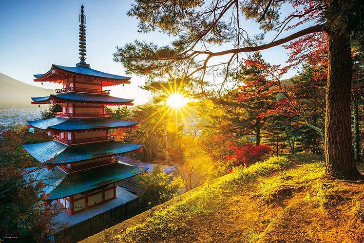 日本風景 - 朝陽五重塔 1000塊 (50×75cm)