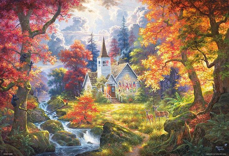 (帆布紋理) Abraham Hunter - 在森林裡的小教堂 1000塊 (49×72cm)