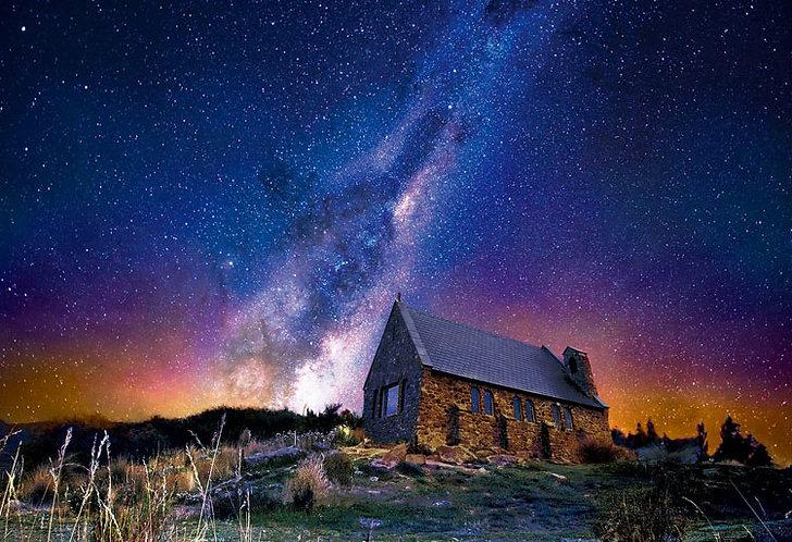(夜光) 紐西蘭風景 - 特卡波小屋 300塊 (26×38cm)