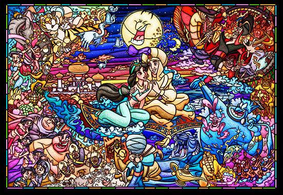 (透明樹脂) 阿拉丁 - 阿拉丁與茉莉玻璃彩繪 500塊 (25×36cm)