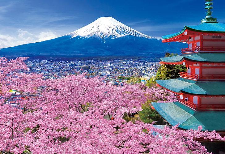 日本風景 - 春風富士五層塔 300塊 (26×38cm)