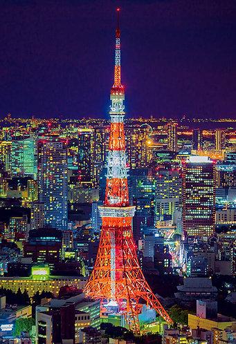 (迷你尺寸) 日本風景 - 東京鐵塔夜景 1000塊 (26×38cm)
