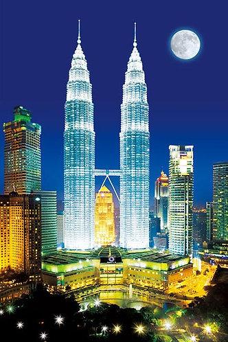 (夜光) 馬來西亞風景 - 雙峰塔 1000塊 (50×75cm)