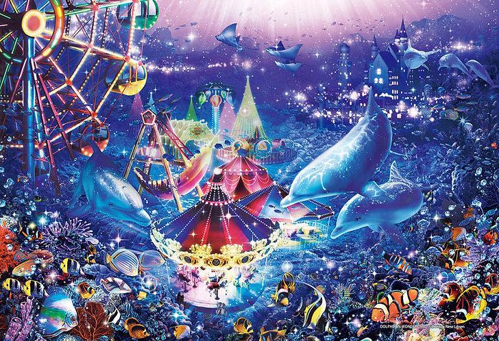 (迷你尺寸) (夜光) Christian Lassen - 海豚在仙境 1053塊 (26×38cm)