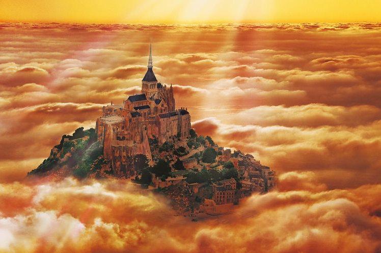 法國風景 - 雲霧中的聖米歇爾山 300塊 (26×38cm)