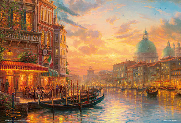 (迷你尺寸) (帆布紋理) Thomas Kinkade - 暮光下的威尼斯咖啡館 1000塊 (26×38cm)