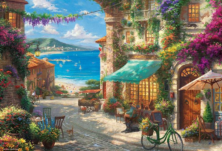 (帆布紋理) Thomas Kinkade - 西西里島開花咖啡館 1000塊 (49×72cm)