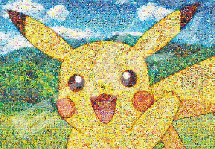 (馬賽克) (雙面) (加大尺寸) 寵物小精靈 - 比卡超大頭肖像 500塊 (51×73.5cm)