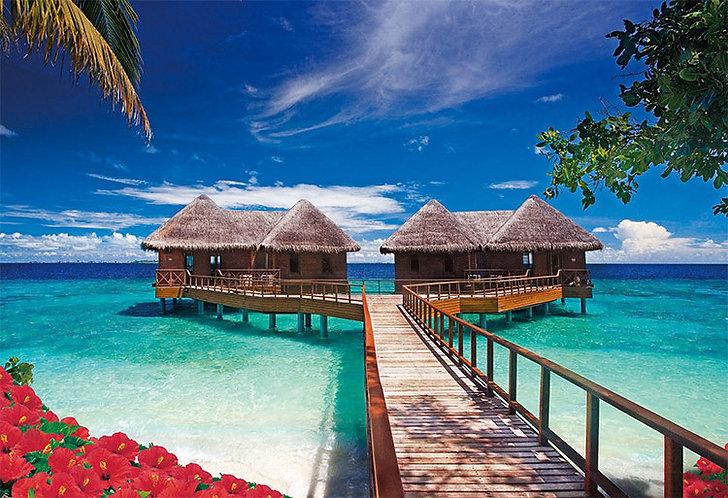 (迷你尺寸) 馬爾代夫風景 - 熱帶小屋 1053塊 (26×38cm)