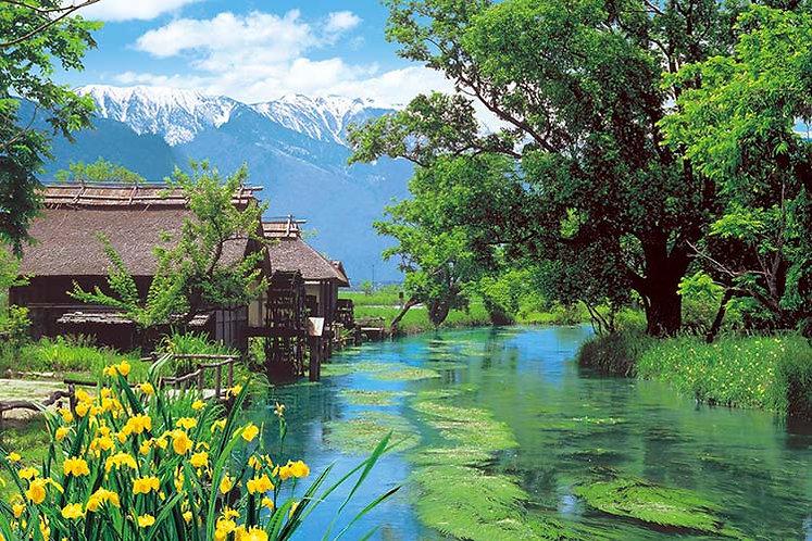 日本風景 - 安曇野水磨坊 1000塊 (50×75cm)