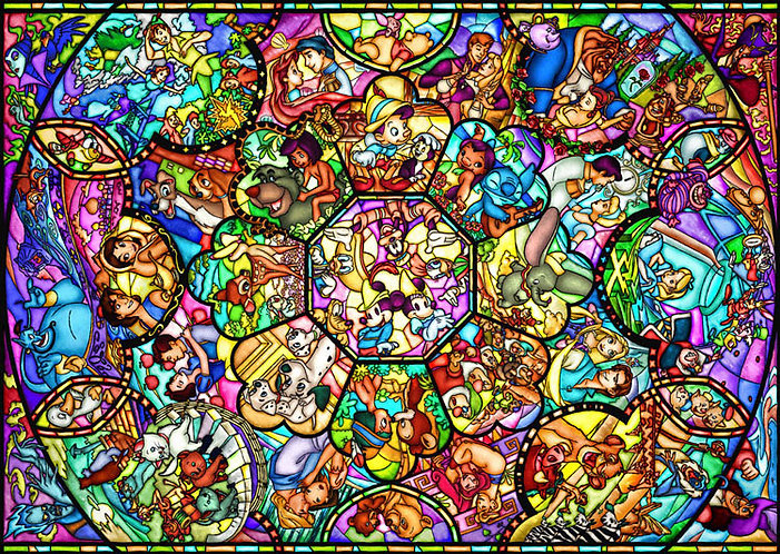 (鐳射閃面) 迪士尼 - 迪士尼全角色彩繪藝術 500塊 (35×49cm)