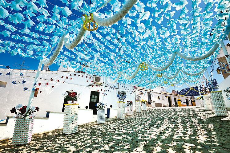 葡萄牙風景 - 在空中跳舞的淺藍花朵 1000塊 (50×75cm)