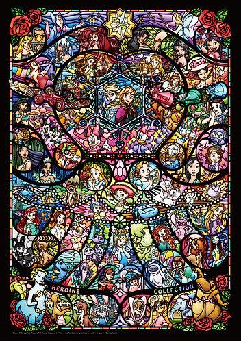 (迷你尺寸) 迪士尼 - 迪士尼全女角色彩色玻璃 1000塊 (29.7×42cm)