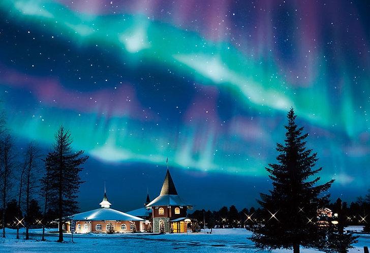 芬蘭風景 - 極光下的白銀教堂 300塊 (26×38cm)