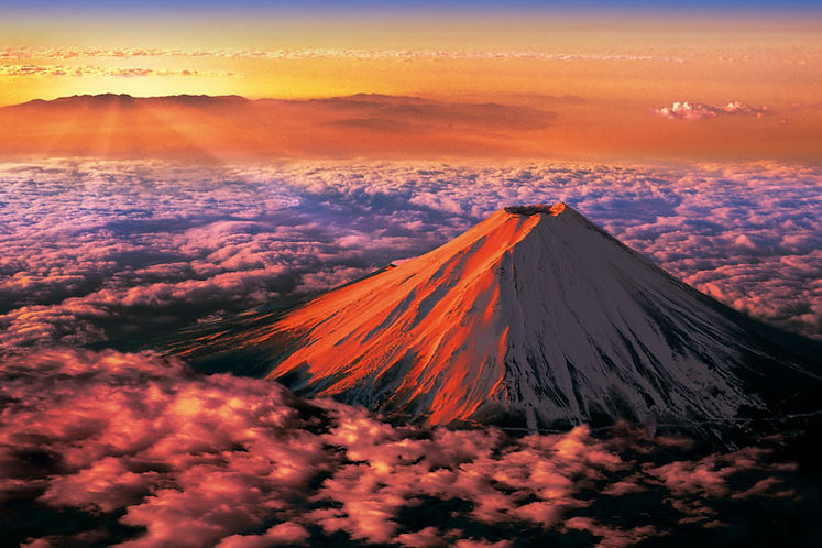 (迷你尺寸) 日本風景 - 日落赤富士 2016塊 (50×75cm)