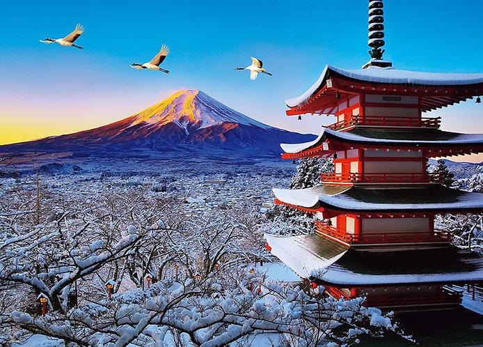 日本風景 - 富士與飛鶴下的淺間神社 600塊 (38×53cm)