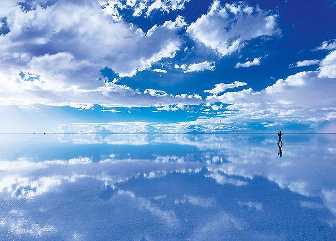 玻利維亞風景 - 天空之鏡烏尤尼鹽湖 500塊 (38×53cm)