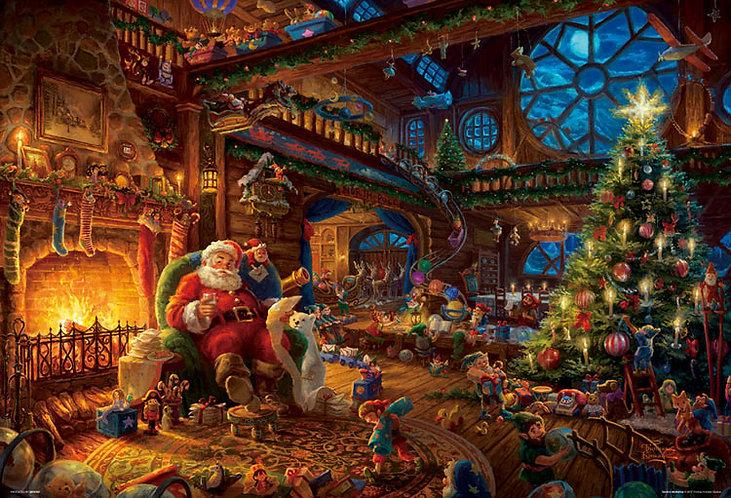 (帆布紋理) Thomas Kinkade - 聖誕老人工作室 300塊 (26×38cm)