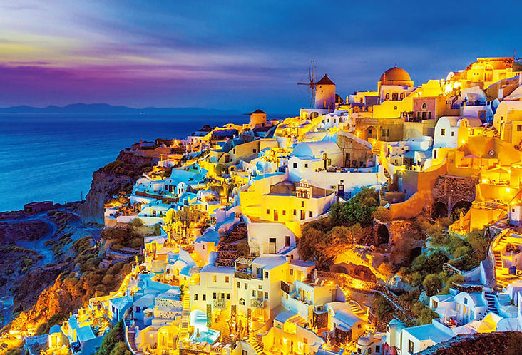 (迷你尺寸) 希臘風景 - 暮光聖托里尼島 2000塊 (49×72cm)