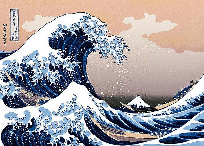 (迷你尺寸) 葛飾北齋 - 神奈川沖浪裏 (冨嶽三十六景) 2000塊 (38×53cm)