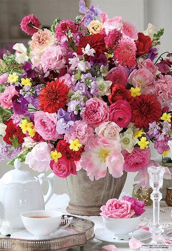 (迷你尺寸) 花藝 - 玫瑰下午茶 1000塊 (26×38cm)