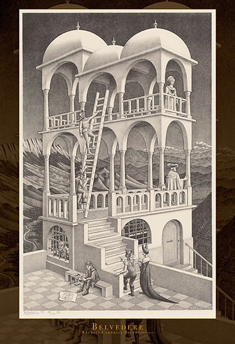 (迷你尺寸) M.C. Escher - 瞭望台 1053塊 (26×38cm)