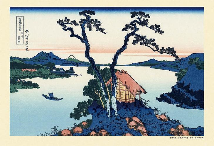 葛飾北齋 - 信州諏訪湖 (冨嶽三十六景) 300塊 (26×38cm)
