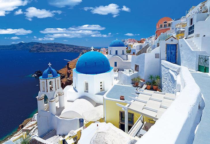 (迷你尺寸) 希臘風景 - 聖托里尼的藍色小屋 1053塊 (26×38cm)
