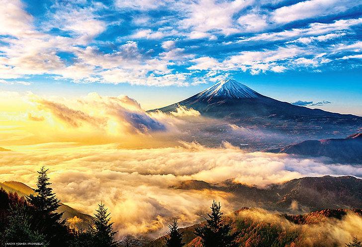(迷你尺寸) 日本風景 - 朝陽輝下的金雲富士 1000塊 (26×38cm)