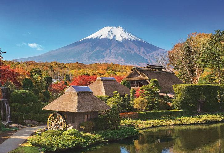 日本風景 - 忍野之秋與富士 300塊 (26×38cm)