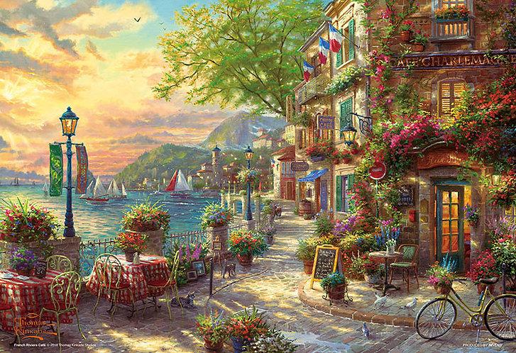 (迷你尺寸) (帆布紋理) Thomas Kinkade - 里維埃拉花開花咖啡館 1000塊 (26×38cm)