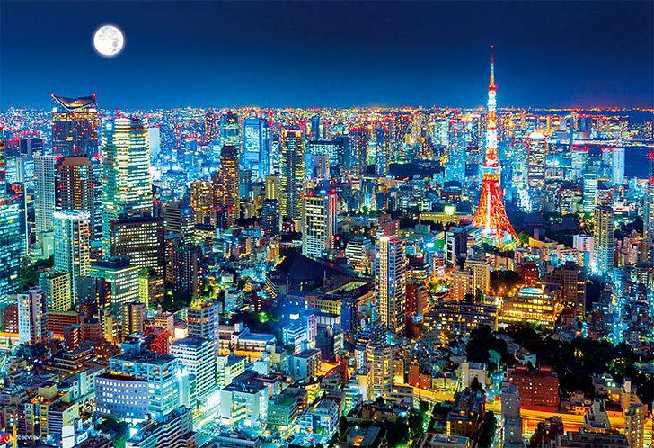 (迷你尺寸) 日本風景 - 東京夜景 1000塊 (26×38cm)