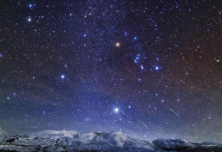 (夜光) 日本風景 - 北海道十勝岳和雙子座流星雨 300塊 (26×38cm)