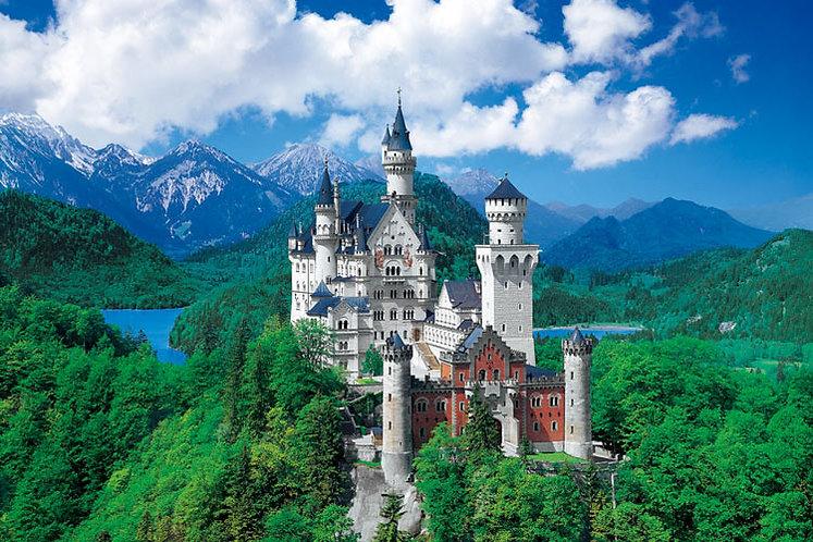 (迷你尺寸) 德國風景 - 新天鵝堡在天空中 2016塊 (50×75cm)