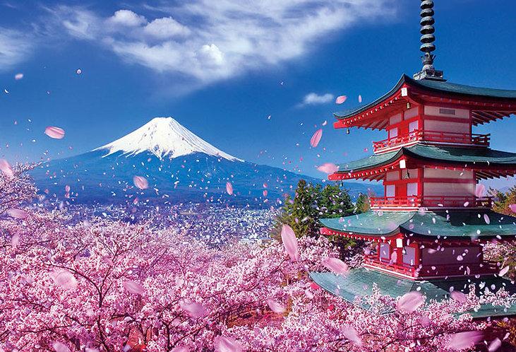 (迷你尺寸) 日本風景 - 與櫻花共舞的淺間神社 1000塊 (26×38cm)