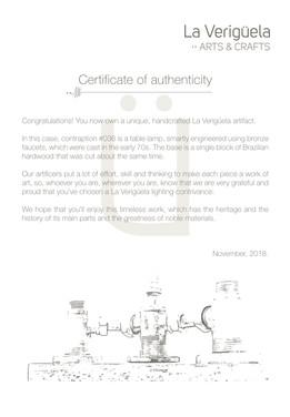 La Veriguela | Certificate of authentici