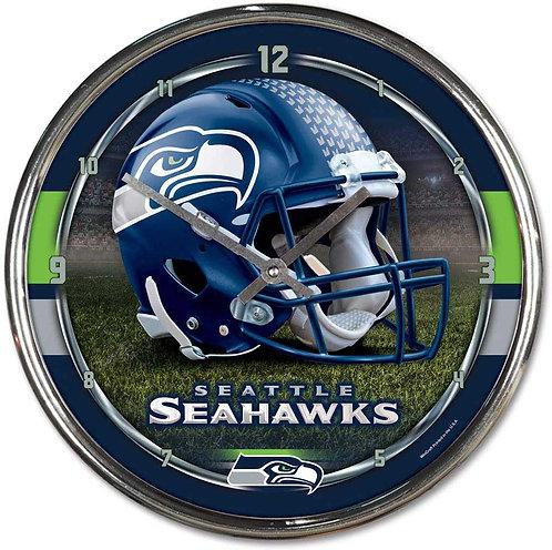 Seahawks Chrome Clock