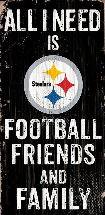 """Steelers """"Football, Friends, Family"""" Sign"""