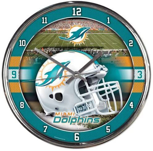 Dolphins Chrome Clock