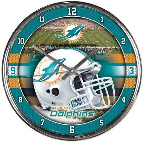 Dolphins Chrome Clock