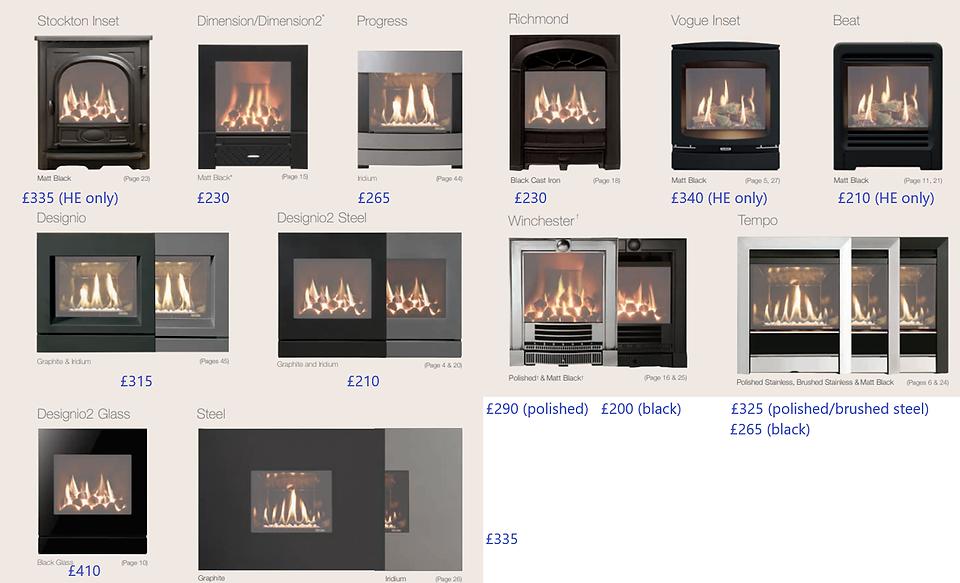 gazco-logic full frame options prices.pn