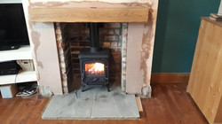 Brick chamber & grey stone hearth