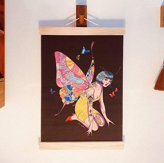 "Isaac Spellman巫男 | ""Happiness is a butterfly"" Fabric Print 掛畫"