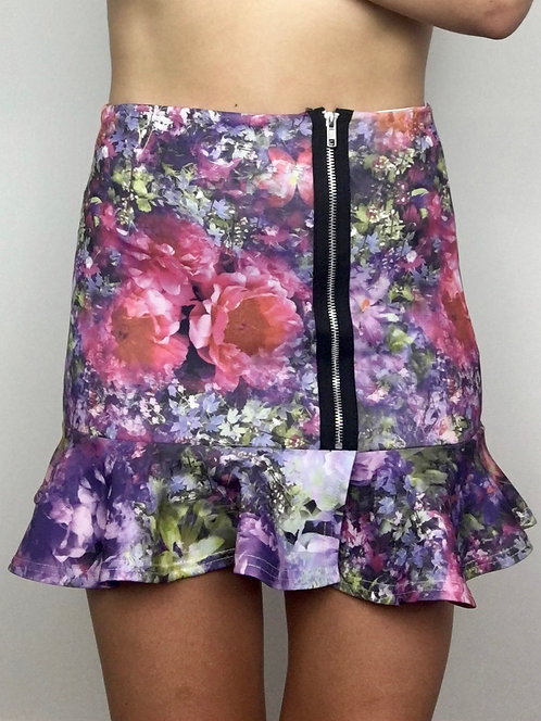 Floral Zip Front Skirt