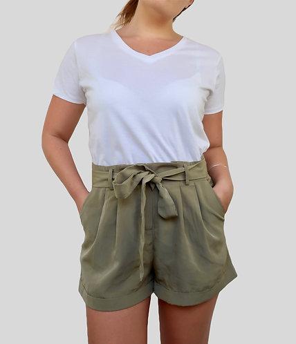 Belted Olive Shorts