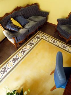 """שטיח"""" מאריחי שומשום מצוירים וחלקים"""""""